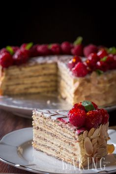 Esterhazy - Exceptional Hungarian cake made of Hazelnut Meringue and rich Custar. Esterhazy - Exceptional Hungarian cake made of Hazelnut Meringue and rich Custard Buttercream Hazelnut Meringue, Meringue Cake, Buttercream Cake, Hazelnut Torte Recipe, Meringue Desserts, Baking Desserts, Russian Honey Cake, Russian Cakes, Just Desserts
