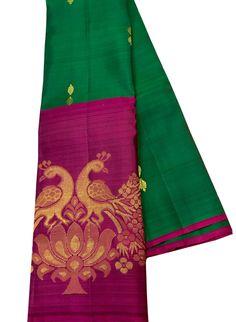 Buy Green Handloom Kanjeevaram Pure Silk Saree With Big Border Gold Silk Saree, Soft Silk Sarees, Silk Saree Kanchipuram, Handloom Saree, Lehenga Online, Sarees Online, Pearl Jewelry, Bridal Jewelry, Katan Saree