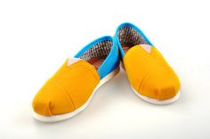 Cheap Toms Shoes Women Blue and Yellow $19.99