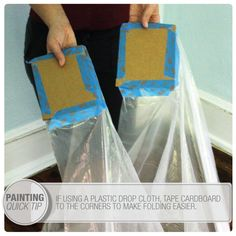 Tape pieces of cardboard to the corners to make a huge dropcloth much more manageable when folding. 47 Tips And Tricks To Ensure A Perfect Paint Job Painting Concrete, Drip Painting, Painting Tips, Painting Edges, Spray Painting, House Painting, Pringles Dose, Colors, Rustic Furniture