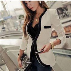 Chic Pure Color Round Collar Slim Blazer