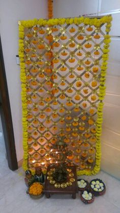 Can be used as Behind pooja wall decoration Mandir Decoration, Ganpati Decoration At Home, Diwali Decorations At Home, Ganapati Decoration, Festival Decorations, Flower Decorations, Diwali Decoration Items, Wedding Decorations, Stage Decorations