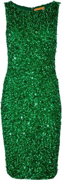 Emerald green sleeveless dress from Alice+Olivia featuring a scoop neck, a fitted waist, a central back zip fastening, and an all-over green sequin and bead embellishment.