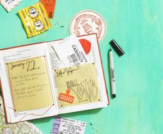 Crafty cool travel journal for all those little things that never seem to make their way into a scrapbook.