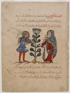 Arts of the Islamic World   Folio from an Arabic translation of the <i>Materia medica</i> by Dioscorides (ca. 40-90 C.E.); recto: Two physicians cutting a plant; verso: text   F1938.1
