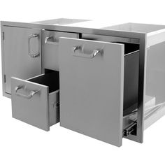 Kingston Series Single Door, Double Drawer & Trash Roll-Out Combo Open