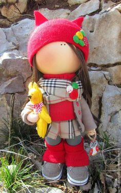 Купить Кукла интерьерная Анна Burberry со своим рыжим котом - кукла ручной работы
