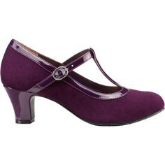 Hotter Michelle Suede T-Bar Mary Jane Court Shoes (£45) ❤ liked on Polyvore featuring shoes, pumps, plum, t strap mary jane pumps, low pumps, flat shoes, suede shoes and mary-jane shoes