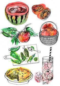 Hennie Haworth | Meiklejohn Cake Drawing, Food Illustrations, Love Food, Watercolor, Colour, Drawings, Creative, Artist, Painting