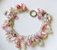 Handcrafted Breast Cancer Awareness bracelet For sale on Etsy   https://www.etsy.com/shop/FancifulFlairDesigns Convo me for details