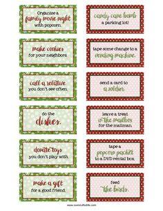 CHRISTMAS | Kindness Advent Calendar card printables: 24 ideas to be a little kinder this season.