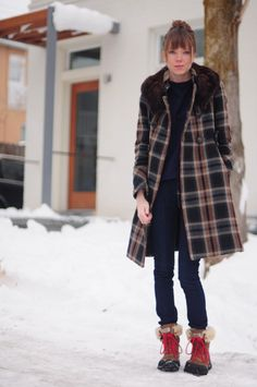 Ugg Adirondack boots, Zara plaid coat