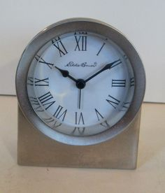 solid wood table mantel clock with brass trim quartz