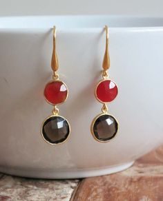 'Hanah' 18K Gold Plated Earrings: Smoky Quartz & Red Agate. www.eight5two.com