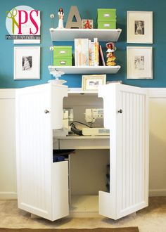 Pinning for the cool sewing space that hides away :) Wow! Positively Splendid {Crafts, Sewing, Recipes and Home Decor}: Sewing Room/Home Office Reveal Sewing Box, Sewing Desk, Sewing Cabinet, Sewing Machine Desk, Sewing Tables, Home Projects, Home Crafts, Space Crafts, Craft Space