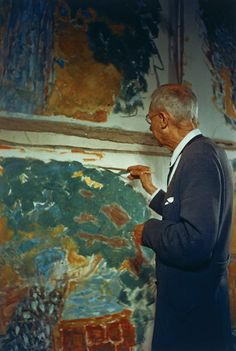 Pierre Bonnard in his studio, and a detail of his palette.  Le Cannet, France 1945