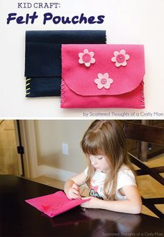 Kid Craft: Hand Sewn Felt Pouches Felt Wallet, Diy Wallet, Hand Sewing Projects, Sewing Ideas, Bookmarks Kids, Felting Tutorials, Kids Hands, Sewing For Kids, Diy Crafts For Kids