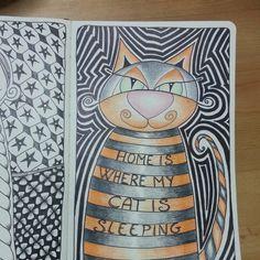 Http : //timelessrituals.blogspot.com #moleskine #zentangle #zendoodle #artjournal #tangle #doodle #cat #illustration