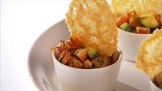 Shrimp and Avocado Salad with Frico Chips http://www.foodnetwork.com/recipes/giada-de-laurentiis/shrimp-and-avocado-salad-with-frico-chips-recipe/index.html