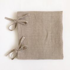 Garment dyed Linen pillowcase with bows / by vydravolkmer Linen Fabric, Pillow Cases, Reusable Tote Bags, Bows, Colours, Pure Products, Arches, Flax Weaving, Bowties