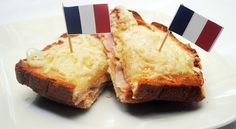 This French-inspired Croque Monsieur sandwich recipe is perfect for Bastille Day -- or any day! French Snacks, French Food, French Dishes, French Recipes, Ham Recipes, Sandwich Recipes, Smelly Cheese, Yummy Snacks, Yummy Food