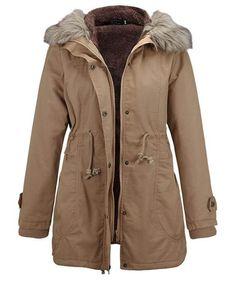 Women Coat Godathe Womens Warm Long Coat Fur Collar Hooded Jacket Slim Winter Parka Outwear Coats Best Winter Coats for Women USA Winter Coats Women, Coats For Women, Anorak, Fur Collar Jacket, Hooded Jacket, Mode Mantel, Faux Fur Hooded Coat, Parka Style, Coats