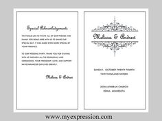 Wedding Program Template  Vintage Filigree by MyExpressionShop, $8.95