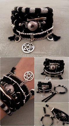 Black Silver Pentagram Bracelet Black Gypsy by vanessahandmade