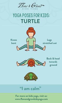 Yoga Poses for Kids: The Turtle Pose. Inspired by the patient turtle, this pose increases mental focus and stretches the arms, back and legs. This pose is great for children who feel overwhelmed or stressed. When emotions are running high, think about the Kids Yoga Poses, Yoga Poses For Beginners, Yoga For Kids, Exercise For Kids, Stretches For Kids, Children Exercise, Fun Poses, Yoga Meditation, Kundalini Yoga