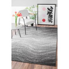 nuLOOM Contemporary Ombre Waves Grey Rug (7'6 x 9'6) | Overstock.com Shopping - The Best Deals on 7x9 - 10x14 Rugs