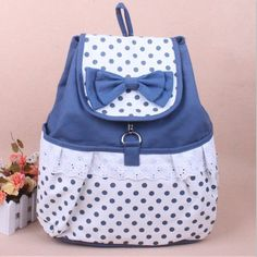 Cute Bowknot Lace Blue Backpack on Wanelo