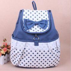 Cute Bowknot Lace Blue Backpack on Wanelo