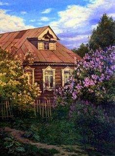 "Photo from album ""ЖИВОЕ ПИСЬМО"" on Yandex. Russian Painting, Russian Art, Ukraine, Russian Architecture, Painted Cottage, Take Me Home, Dream Properties, House Painting, Painting Inspiration"