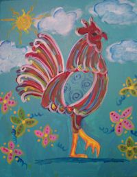 Whimsy's Rooster painting class at www.whimsyartstudio.com where we have BYOB adult painting classes