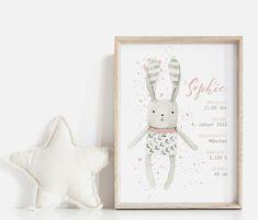 Personalisierte individuelle Babyposter Geburtsposter Kinderzimmer Geschenk Baptism Candle, Nursery Pictures, Baby Posters, Announcement, Birth, Wall Decor, Illustration, Frame, Prints