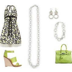 """""""black white & lime dots and circles http://carolyn.mialisia.com/"""" by carolyn-keeler-woodburn on Polyvore  Black, White & lime polka dot halter dress with lime purse and shoes and Mialisia Simplicity necklace worn medium length/layered, Perfect Circle worn as a bracelet, and Simple Circle earrings.  http://carolyn.mialisia.com/"""