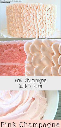 Pink Champagne Buttercream - Recipe of The Days Vegan Wedding Cake, Wedding Cake Flavors, Fall Wedding Cakes, Buttercream Frosting, Pink Champagne Cake, Cake Recipes From Scratch, Frosting Recipes, Cake Tutorial