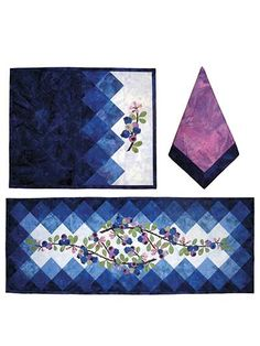 Berry Blues Table Runner and Placemat Pattern
