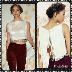 Super sexy fringe top. From the Runway Collection by Lauren Conrad.  This top is so sexy and has a ton of movement. Open back. LC Lauren Conrad Tops Crop Tops