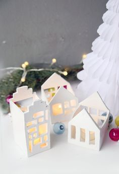 Creative DIY Deco Idea for Christmas to make yourself: small light houses for tealights from FIMO easy to make yourself Christmas Crafts, Christmas Decorations, Xmas, Holiday Decor, Merry Christmas, Cool Diy Projects, Clay Projects, Ard Buffet, Polymer Clay Ornaments