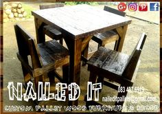 """Bar """"style"""" table with backrest chairs. Dark stained. Suitable for indoor & outdoor use. #naileditpallets #naileditpalletfurniture #nailedpalletfurnituredurban #custompalletfurniture #custompalletfurnituredurban #palletfurniture #palletfurnitureamanzimtoti #palletdiningtable #pallettable"""