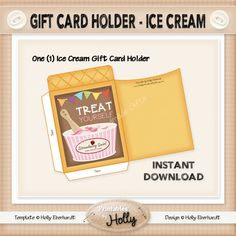 Gift Card Holder - Ice Cream - Instant Download Printable - Beginner Project by HollysHandmadeGifts on Etsy
