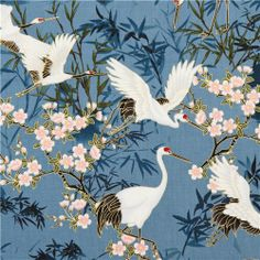 blue crane animal Asia fabric Timeless Treasures with gold