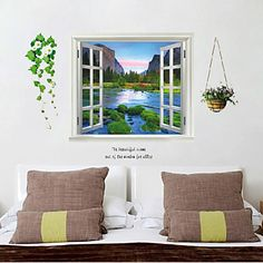 Fake Window Wall Poster,Decorative Poster Wall Stickers - USD $ 9.99