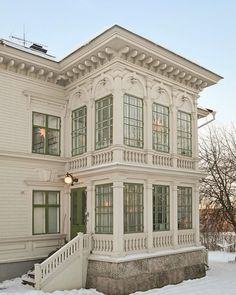 Beautiful glassed porches, old house in Norrland, Sweden. Victorian Porch, Victorian Cottage, Beautiful Architecture, Architecture Details, Sweden House, Scandinavian Home, Old Houses, Villa, Exterior Design