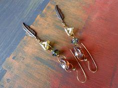 Mixed metal earrings by qisma @ Etsy, Czech beaded earrings, Copper earrings