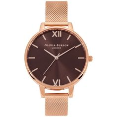 Olivia Burton Brown Dial Rose Gold-plated Watch ($135) ❤ liked on Polyvore featuring jewelry, watches, rose gold plated jewelry, quartz movement watches, mesh strap watches, olivia burton jewellery and olivia burton