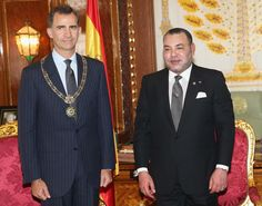 King Felipe VI of Spain and King Mohammed VI of Morocco in the Royal Palace on July 14, 2014 in Rabat, Morocco. The new King and Queen of Spain are on a two day visit to Morocco.