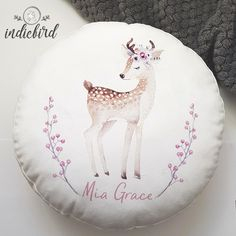 Round Cushion – Personalised Deer with Wreath Personalised Cushions, Personalised Gifts, Deer Design, Velvet Cushions, Woodland Nursery, Kids Bedroom, Unique Gifts, Wreaths, Beautiful