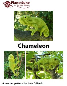 ***Please note that I sell PDF crochet patterns (see Delivery Information below), NOT completed items! As such, all sales are FINAL.*** An original realistic crochet amigurumi Chameleon lizard pattern by June Gilbank. Chameleons are probably the most fascinating of lizards because of